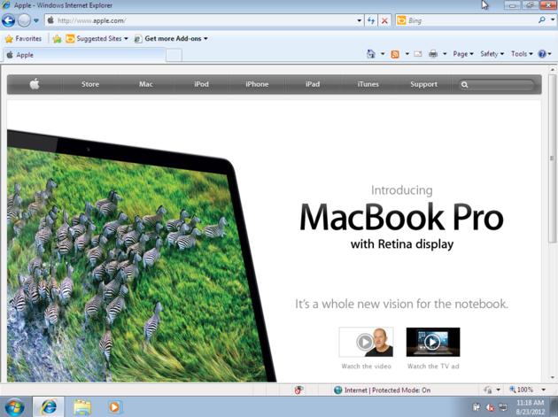 Apple's website on Internet Explorer 8