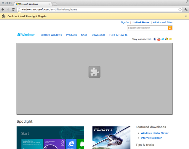 Micorsoft's website from Chrome on a Mac